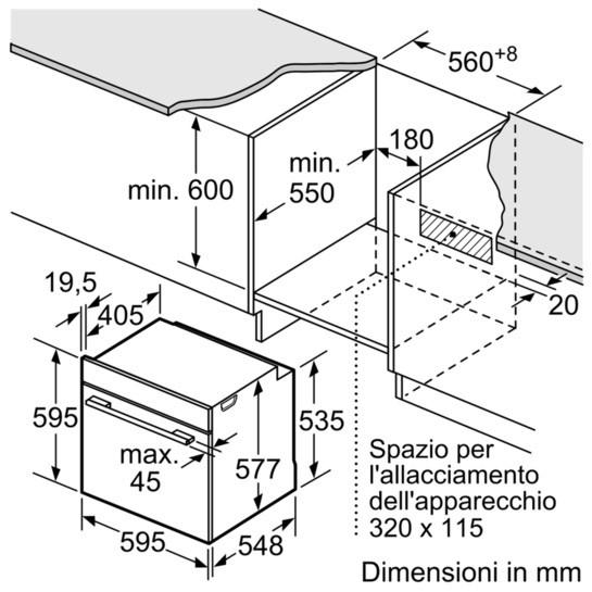 Dimensioni Forno BOSCH HRG675BS