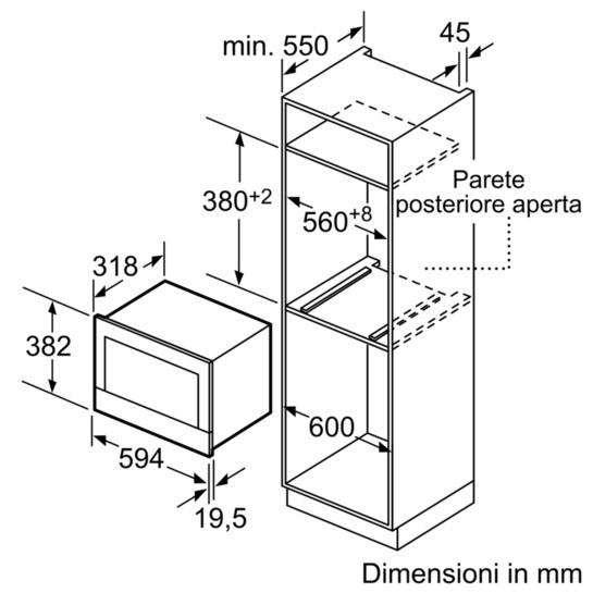 Dimensioni Forno Microonde BOSCH BFL634GB1 1