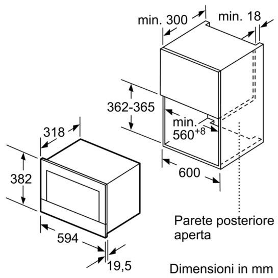 Dimensioni Forno Microonde BOSCH BFL634GB1 2