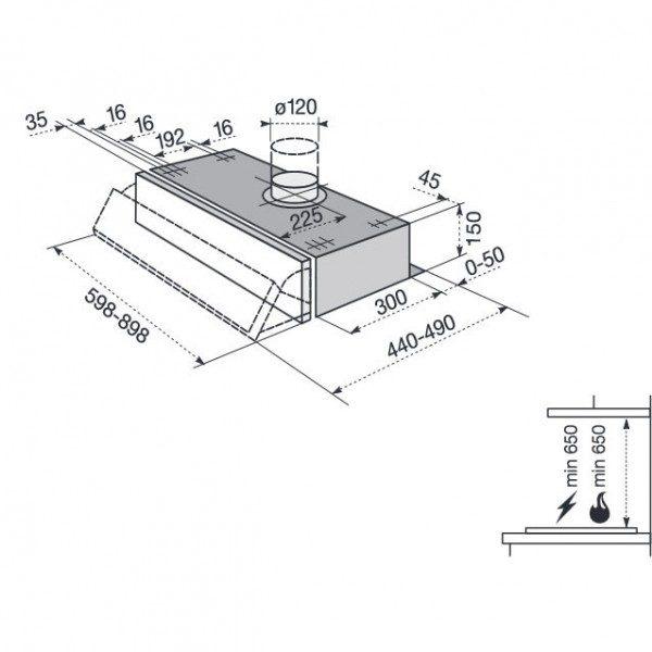Electrolux Cappa CE 9020 N Dimensioni