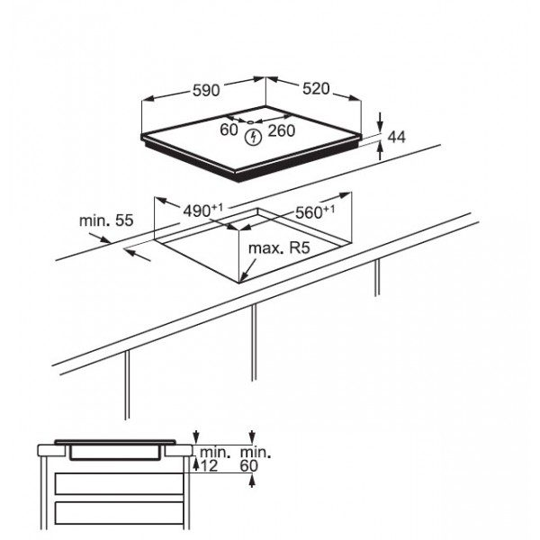 Electrolux Piano Cottura KIV 64463 Incasso
